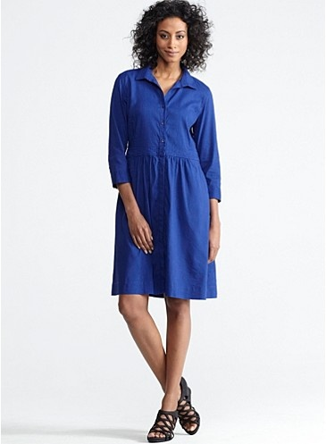 Classic Collar 3/4-Sleeve Shirtdress in Linen Viscose Stretch Eileen Fisher