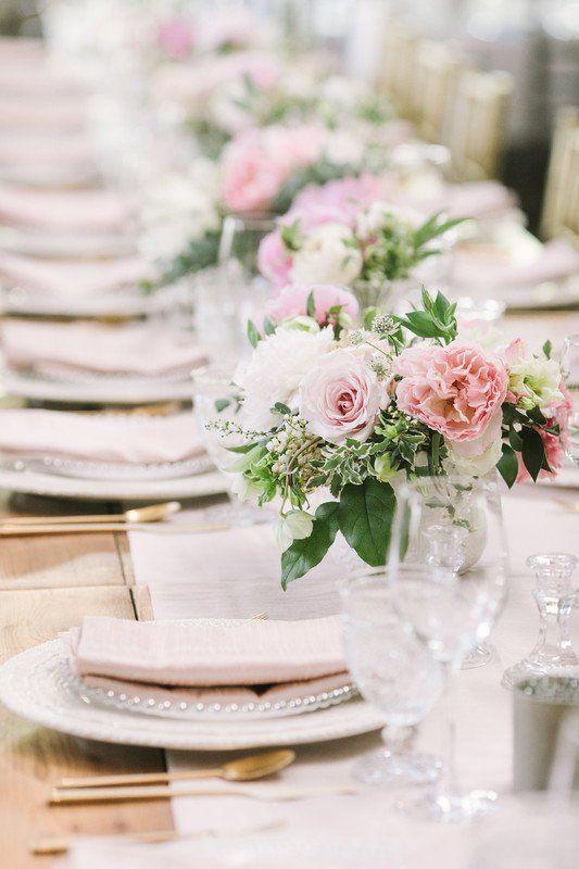 Classic Wedding Centerpiece Idea Pink White Floral Centerpiece