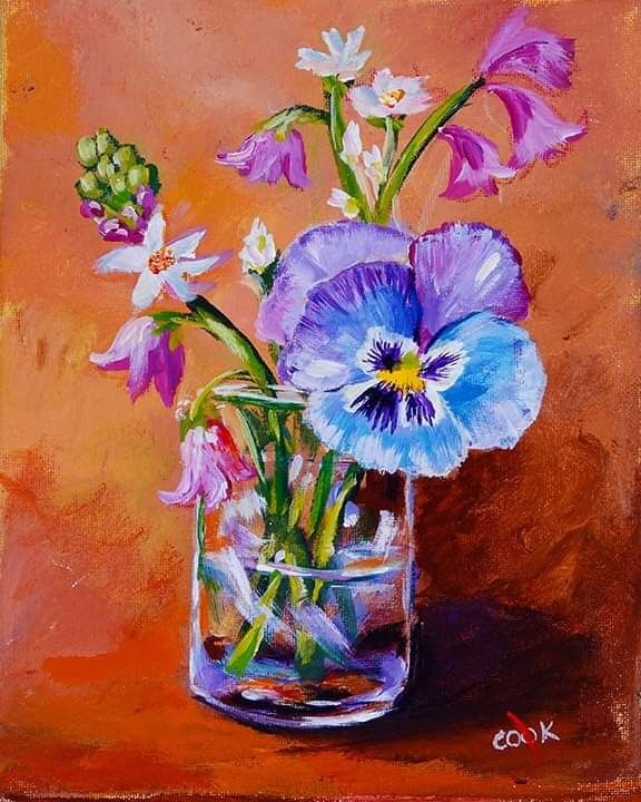 Blue Pansy In A Glass Vase Youtube Acrylic Painting Tutorial By