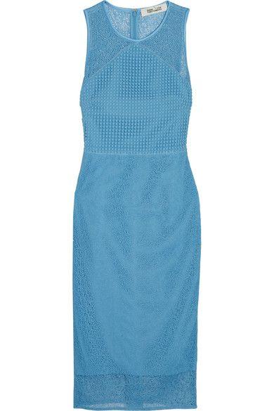 Diane von Furstenberg - Paneled Lace Dress - Blue - US12