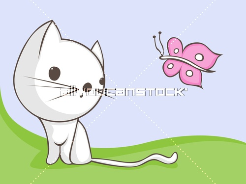 Cute Cat with little butterfly * All You Can Stock