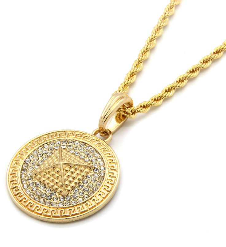 """Mens Medallion Pattern Pyramid Gold Clear Plated Greek 24"""" Rope Chain Pendant Necklace"""