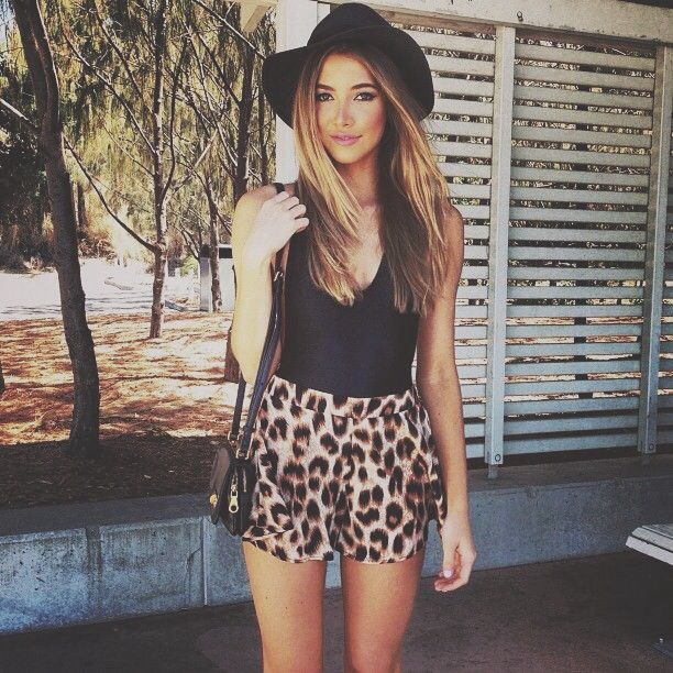 Animal Print Shorts And Black Tank Top With Black Hat. Cute Summer Outfit Classy | Hair Nails ...
