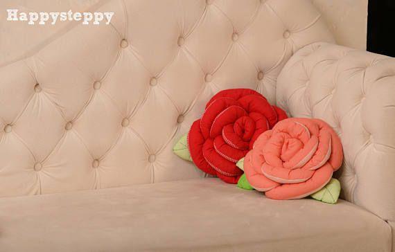 Two pillows -rose,Decorative pillows, pillows, pillows-roses, flowers, red pillow, coral pillow, pillow for children,