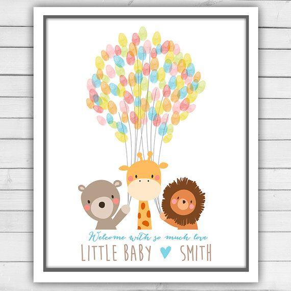 Baby animals baby shower guestbook thumbprint door Anietillustration
