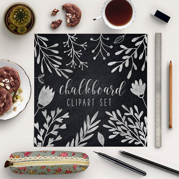 Chalkboard Plants Clipart -  http://etsy.me/2dxK71M 13 professionally made, high quality digital PNG images with transparent backgrounds.