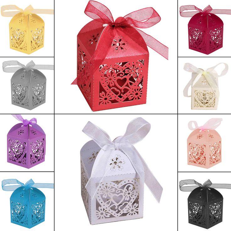 100 pcs/ensemble Romantique faveurs De Mariage Décor Coeur DIY De Sucrerie Cookie Cadeau Boîtes De Noce Boîte De Bonbons avec Ruban 10 Couleurs(China (Mainland))