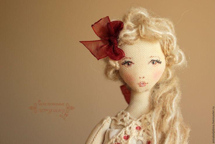 Купить Летиция, авторская текстильная кукла - бежевый, бордовый, кукла для…