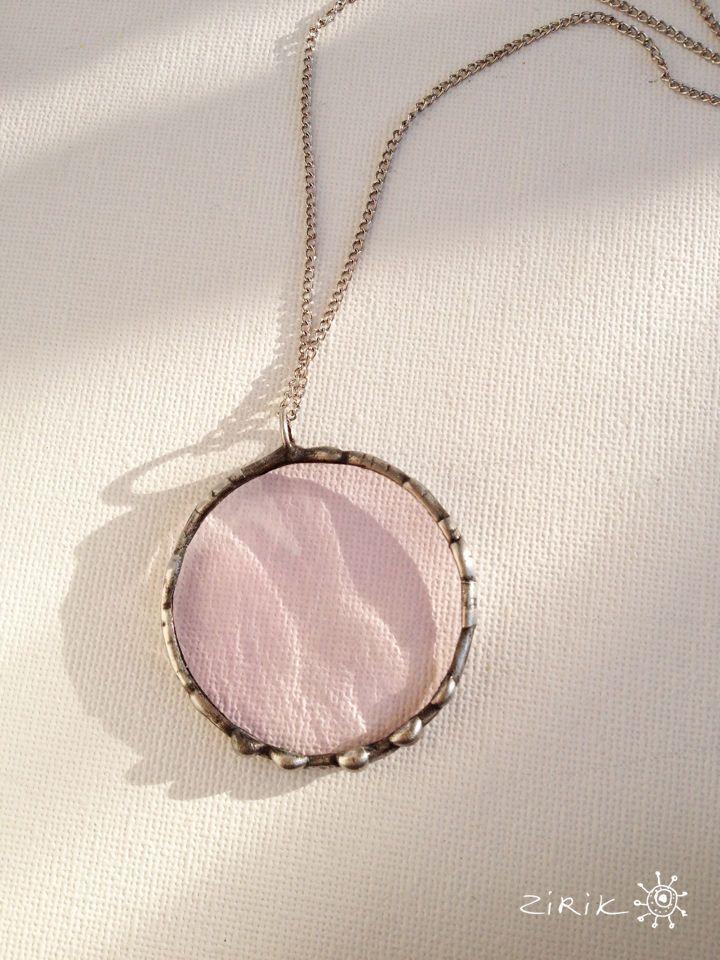 Купить Кулон Rose - бледно-розовый, розовый, роза, украшение, стеклянные украшения, Витраж Тиффани