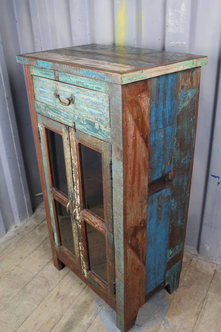 Tall and Colourful, Reclaimed Wood & Glass Cabinet