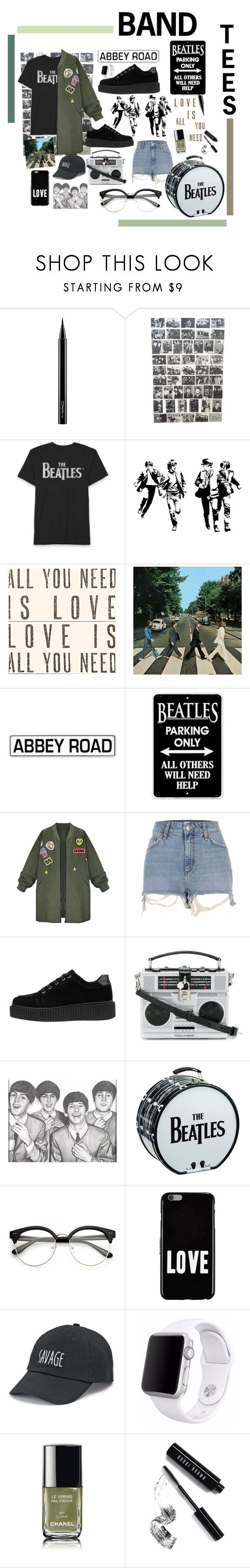 """""""Beatles// Band Tees"""" by keiberweebers ❤ liked on Polyvore featuring MAC Cosmetics, Sugarboo Designs, WithChic, River Island, Dolce&Gabbana, Givenchy, SO, Apple, Chanel and Bobbi Brown Cosmetics"""