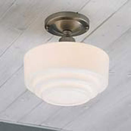 1/2 BATH IN POLISHED or BRUSHED NICKEL Schoolhouse Semi-Flush Ceiling Light