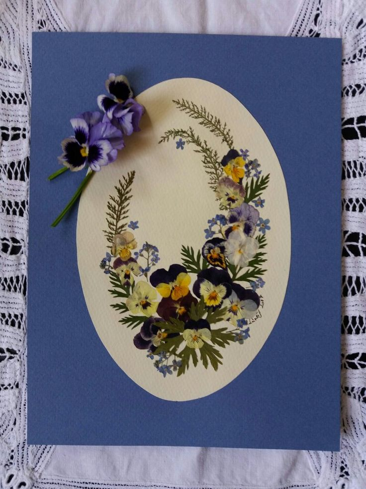 Pansies bouquet- Pressed flower picture for my daughter