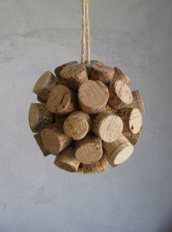 wine cork ball ornament, could tie a Christmas bow on top!