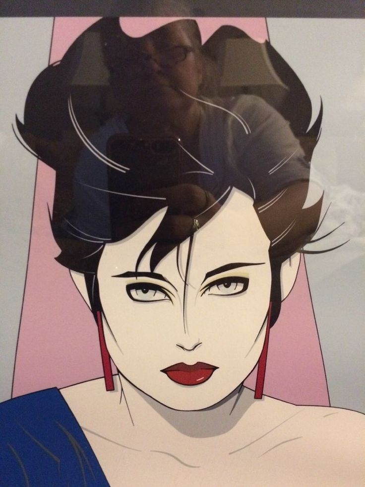 Patrick Nagel Blue shirt and background edgy Classic Visions Mounted Poster EUC  | eBay