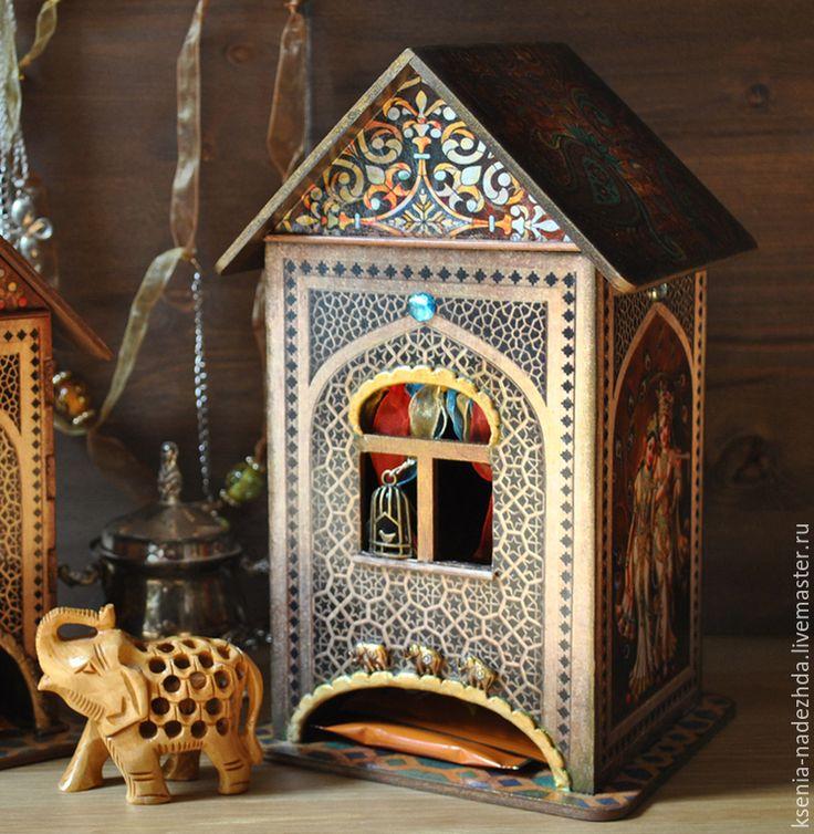 """Купить Чайный домик """"Загадочная Индия"""" - чайный домик, чайный домик декупаж, домик для чая"""