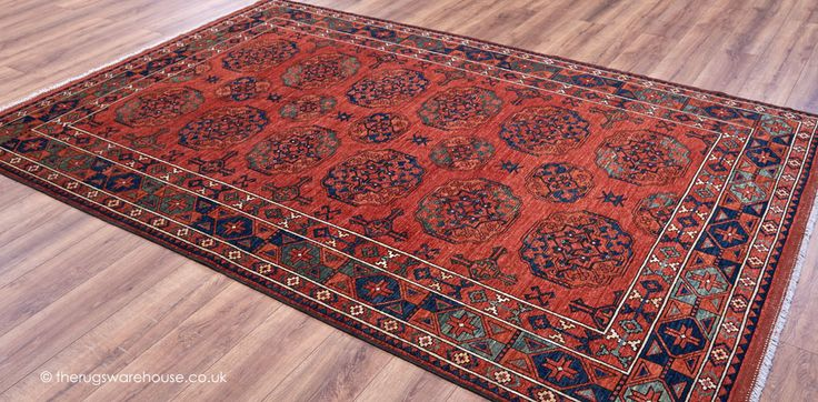 Ersari 1993 Rug, a luxury traditional style 100% wool hand-knotted rug mainly in shades of terracotta, blue & green (handmade in Afghanistan) http://www.therugswarehouse.co.uk/traditional-rugs/fine-afghan-rugs/ersari-1993-rug.html #rugs #interiors