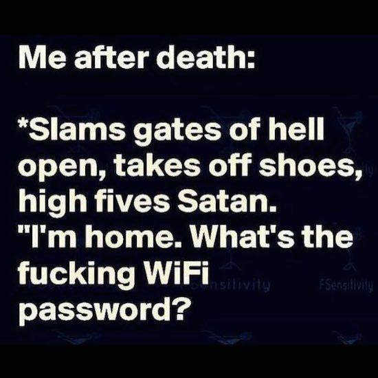 That's cute. I'm clearly running hell. I'll already have the password. And don't slam the fucking gate on your way in ⭐️