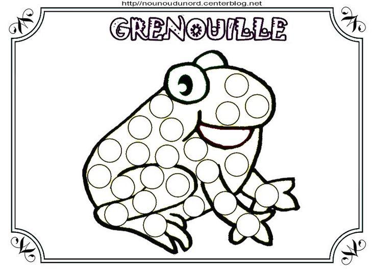 coloriage grenouille et a gommettes