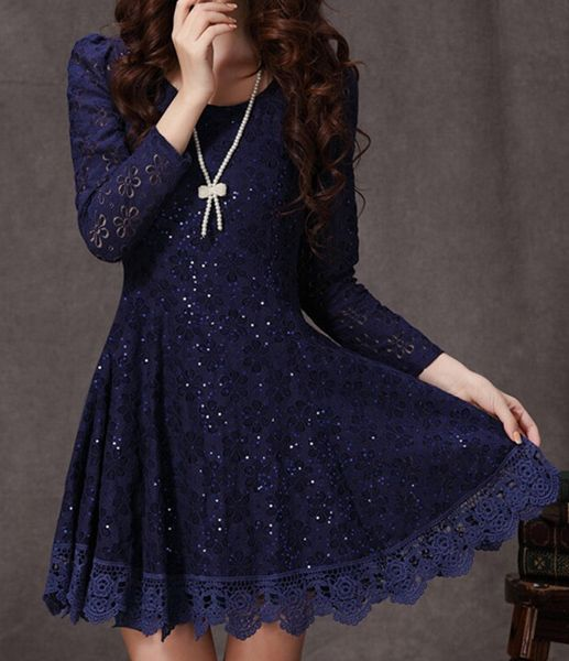 Ruffled Design Long Sleeve Lace Dress in Dark Blue