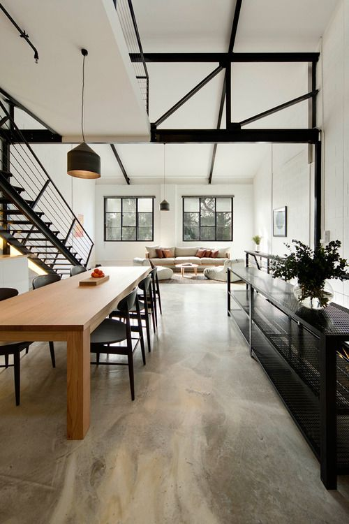 Polished concrete floors, exposed structure and simple layers. Loft living with multiple levels and large spaces