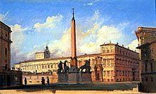 """Kvirinál, italsky Colle Quirinale, je pahorek ve středu města Říma (rione Monti) a je to je nejsevernější ze """"Sedmi pahorků"""", na nichž stál starověký Řím. Kvirinálský palác je sídlem italského presidenta, takže """"Kvirinál"""" se někdy užívá jako označení italské vlády a státu – Wikipedie"""