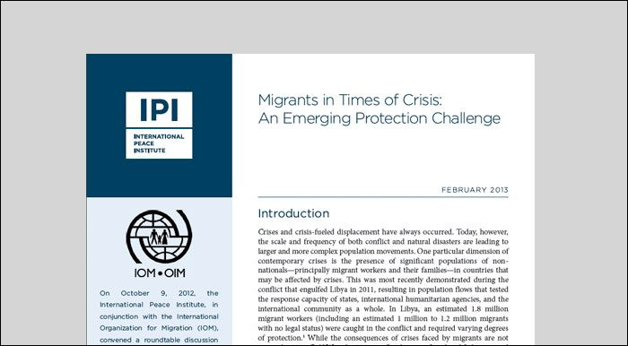 Migrants in Times of Crisis: An Emerging Protection Challenge | International Peace Institute