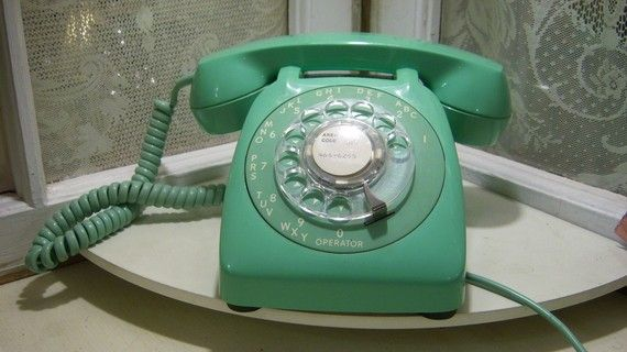 Vintage Mint Green Rotary Phone by amarchhare on Etsy