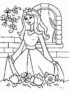 obr. 410 - omalovánky Krásná princezna v zahradě