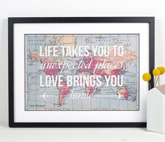World Map Print Travel Poster Map Quote by oflifeandlemons on Etsy