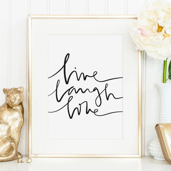 Digitaldruck - Poster, Kunstdruck mit Spruch: Live, laugh, love - ein Designerstück von Tales-by-Jen bei DaWanda