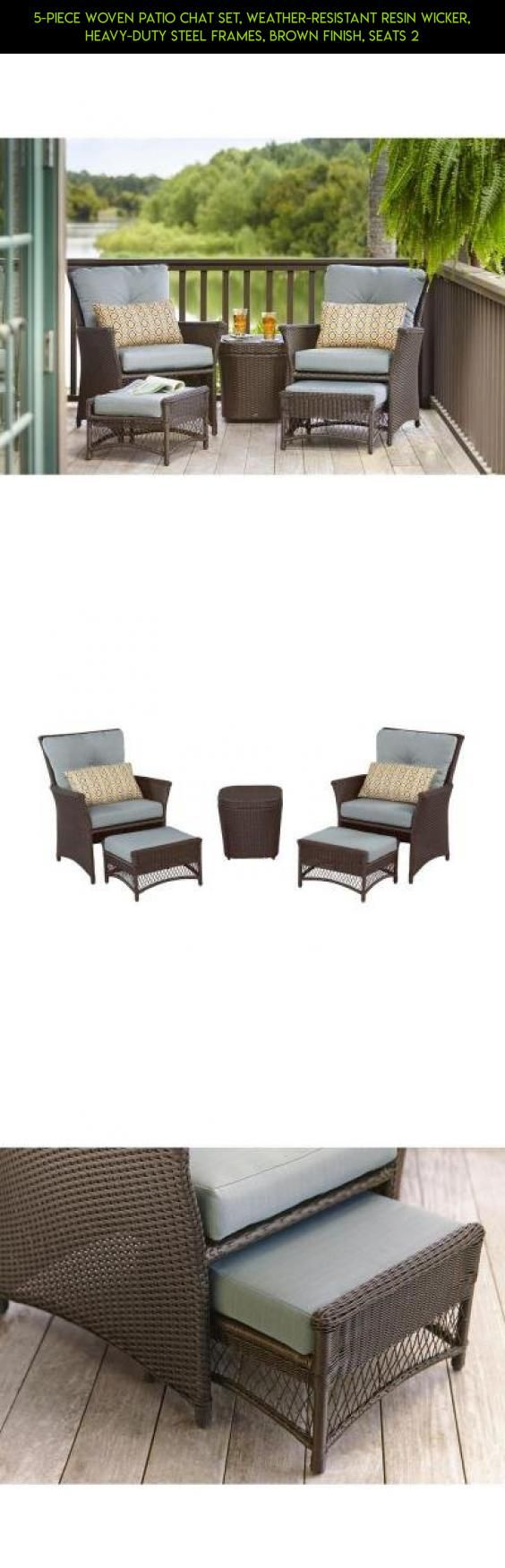 5-Piece Woven Patio Chat Set, Weather-Resistant Resin Wicker, Heavy-Duty Steel Frames, Brown Finish, Seats 2 #ottoman #parts #camera #technology #racing #drone #fpv #products #patio #kit #furniture #shopping #plans #gadgets #tech