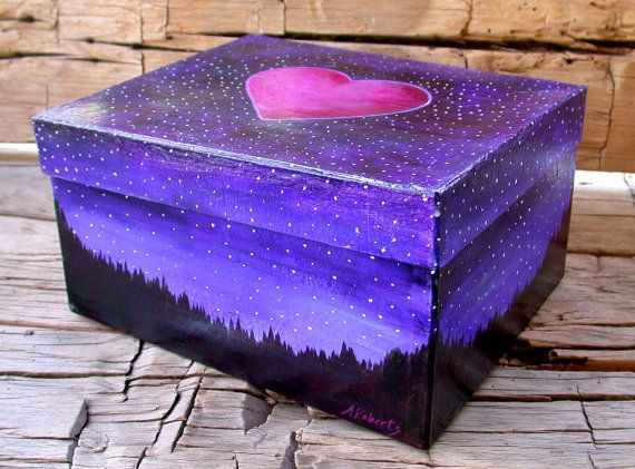 Box Large Starry Night Box with Heart by annarobertsart on Etsy, $125.00