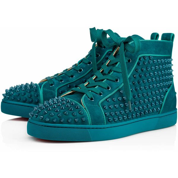 Louis Orlato Spikes Men's Flat  Amazonia Suede - Men Shoes - Christian... ($1,295) ❤ liked on Polyvore featuring men's fashion, men's shoes, mens suede shoes, mens shoes, mens spiked shoes and mens flat shoes