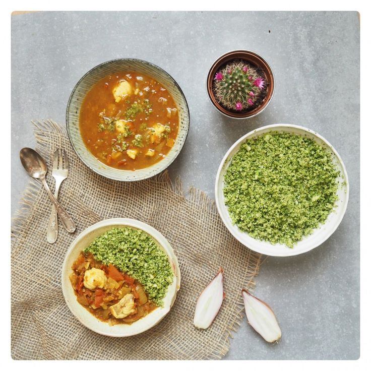 Monkfish Curry with Broccoli Rice