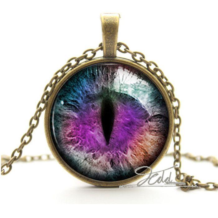Purple Dragon Cat Eye Necklace - 10 USD - bronze