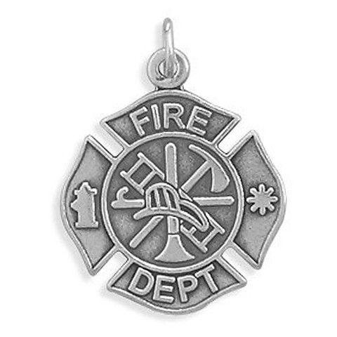 Sterling Silver Firefighter Maltese Cross Pendant