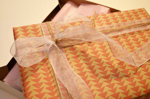 "Ready for you on Etsy! By Stella and Regina Pink Kraft Paper Wrapped Apparel Gift Box (9.5"" X 15"")"