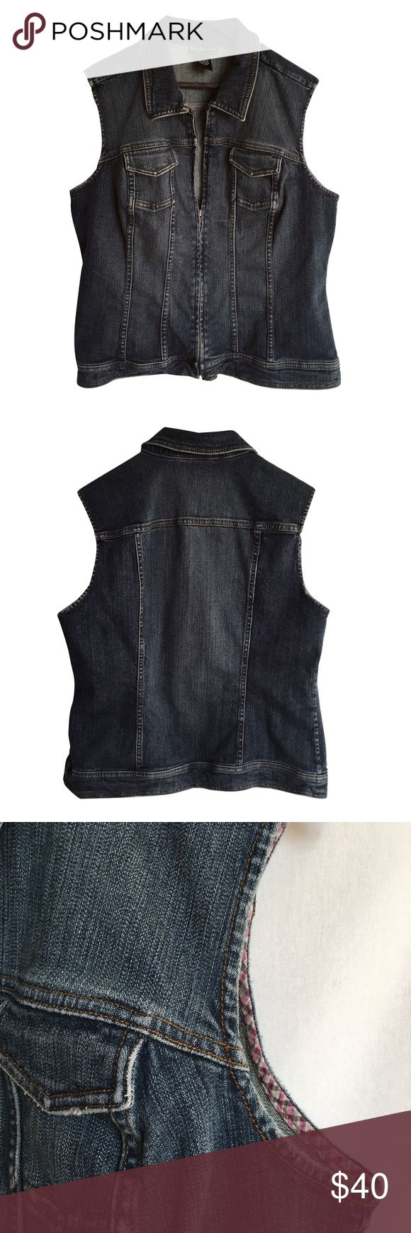 """Style & Co. Sleeveless Denim Jacket / Vest Super cuter Style & Co. distressed denim vest.  Timeless wardrobe staple piece that's perfect for layering. Front zipper closure with two small chest pockets.   Perfect condition! * 98% Cotton 2% Spandex  * 24"""" long * 21.5"""" across underarm to underarm Style & Co Jackets & Coats Vests"""