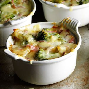 Broccoli Scalloped Potato Casserole - onions, garlic, potatoes, ham, broccoli, milk, Swiss cheese & seasonings.