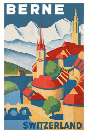 Switzerland Berne Poster 24in x36in. Beautiful replica poster produced as a high quality gloss print. Will ship rolled and ships fast! Measures 24x36, 2ft x 3ft,(61cm x 91cm). Excellent quality poster