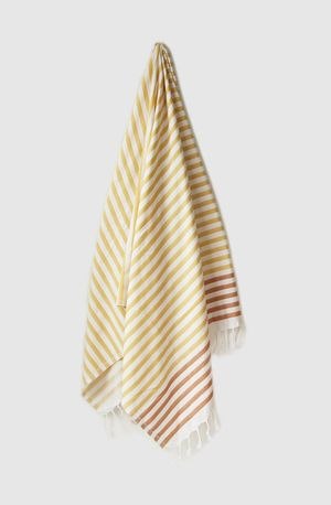 Sheker Candy Stripe Turkish Towel Saffron and Persimmon - $49 AUD