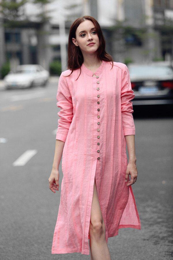 pink shirt, pink tshirt, linen shirt dress, longsleeve linen tshirt, linen kaftan, pink dress, long shirt, pink linen blouse by camelliatune on Etsy https://www.etsy.com/dk-en/listing/467059006/pink-shirt-pink-tshirt-linen-shirt-dress
