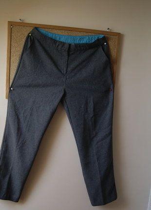 Kup mój przedmiot na #vintedpl http://www.vinted.pl/damska-odziez/chinosy/15655090-spodnie-basic-szare-eleganckie-turkusowe-wykonczenia-r-4240