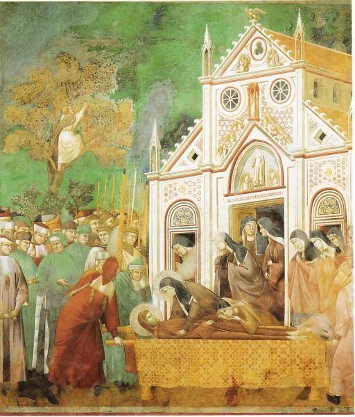 Franciscus van Assisi - Het lichaam van Franciscus werd overgebracht naar de San-Damianokerk, waar alles was begonnen. Daar woonde nu Clara en haar zusters die hij destijds op diezelfde plek had opgenomen in de Tweede Orde, de vrouwelijke tak. 'Met haar andere dochters kwam zij om haar vader te zien, die niet meer tot haar sprak, die nooit meer bij haar terug zou keren, maar die naar elders op weg was. Toen ze naar hem keken, werden ze door diepe droefheid overmand. Ze snikten luid en lieten…