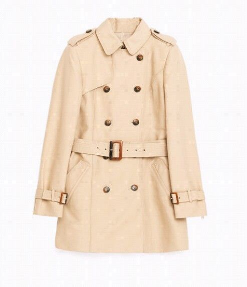 Water Resistant Trench Coat  by Zara. Cream Trench Coat. Mid Length Trench. Sand Trench.