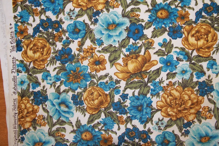 "Vintage Waverly fabric - ""Asheville Flowers""  Looking for this fabric!  If you know of a good vintage fabric source, PLEASE put it in the comments!"