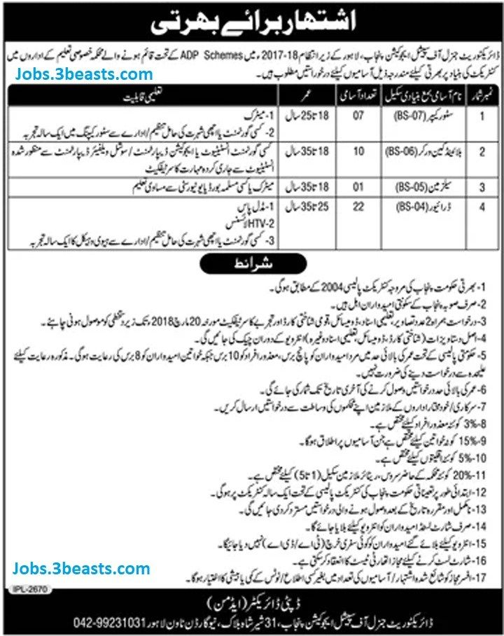 Vacancy Announcement Directorate General Of Special Education