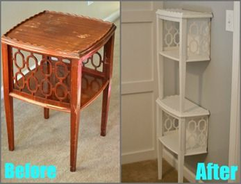 Stacked End Table Shelf - before and after table to shelf