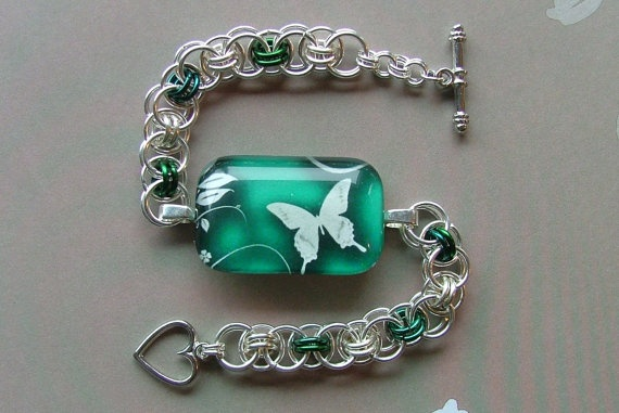 Beautiful Glass Tile and Chainmaille Bracelet - White Butterfly